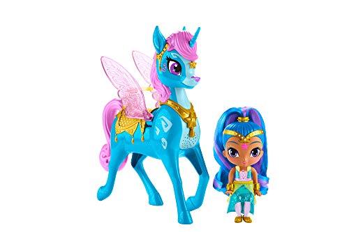 Shimmer & Shine- Shine y Zahracornio mágico Volador, muñeca con Unicornio de Juguete, Multicolor (Mattel GCM02)