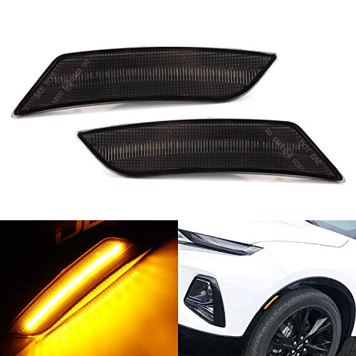 iJDMTOY Smoked Lens Amber Full LED Bumper Side Marker Light Kit Compatible With 2019-up Chevrolet Blazer, Powered by 27-SMD LED, Replace OEM Front Sidemarker Lamps