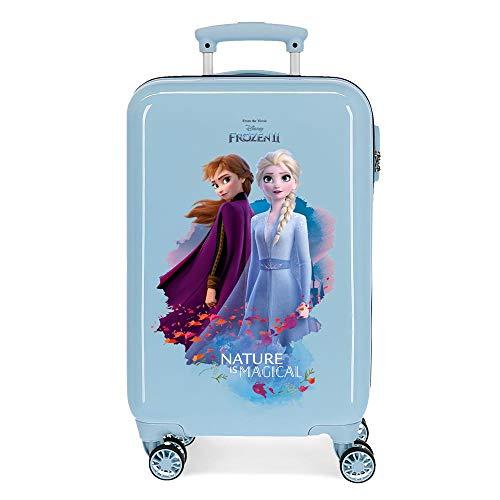 Disney Frozen Nature is magical Maleta de cabina Azul 37x55x20 cms Rígida ABS Cierre combinación 32L 2,5Kgs 4 ruedas dobles Equipaje de Mano