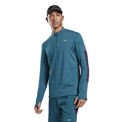 Reebok Running Essentials - Cremallera de Cuarto para Hombre, Running Essentials Quarter Zip, Hombre, Color Heritage Verde Azulado, tamaño XX-Large