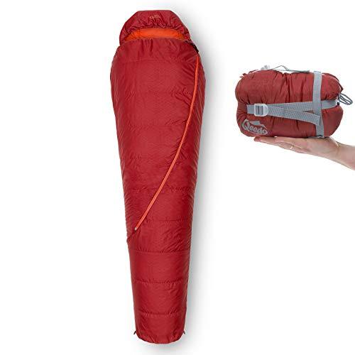 Qeedo Sommer-Schlafsack Light Hitazo, kleines Packmaß (19 x 16 cm) / extrem klein & leicht (670g) - rot