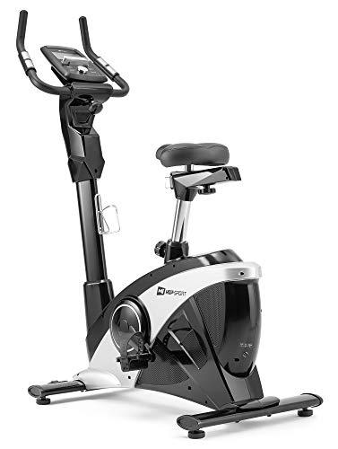 Hop-Sport Heimtrainer HS-090H inkl. Unterlegmatte - Ergometer mit App-Steuerung, 12 Programmen, 32 Widerstandsstufen - Fitnessbike max. Nutzergewicht 150 kg (Silber/Schwarz)