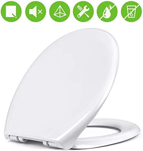 Amzdeal Tapa de wc, Tapa de inodoro con cierre suave y lenta, Asiento de inodoro de plástico duro, Tapa de asiento de wc con sencilla instalación, Tapas de wc en forma de O,blanco