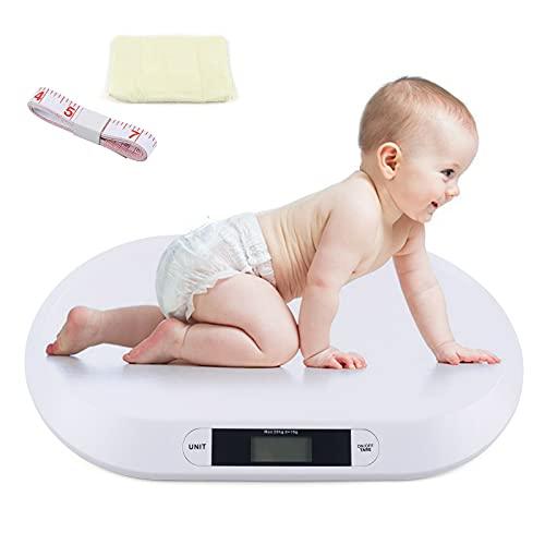 Báscula digital para niños con pantalla LCD, hasta 20 kg, báscula digital para bebés, báscula de cocina, báscula para animales, báscula para niños, toalla con regla, color blanco