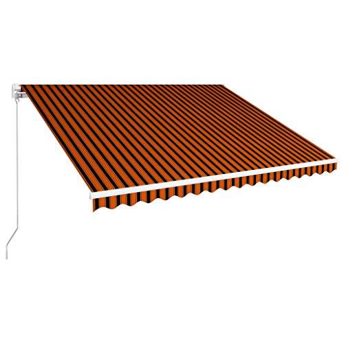 vidaXL Markise Einziehbar Handbetrieben Gelenkarmmarkise Balkonmarkise Sonnenschutz Sichtschutz Terrasse Balkon 400x300cm Orange Braun