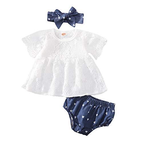 Kleinkind Kinder Baby Mädchen Sommer Solide Spitze Tops + Schleife Denim Shorts Outfits Set Gr. 86, weiß