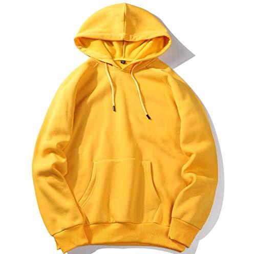 MMADD Hombres suéter, hombres sudadera con capucha ropa exterior multicolor, amarillo, M