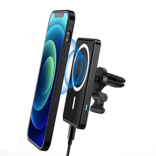 LL TRADER Soporte magnético para coche cargador inalámbrico compatible con iPhone 12/12 Pro/Pro Max/Mini, soporte magnético para teléfono 15 W carga rápida coche montaje negro