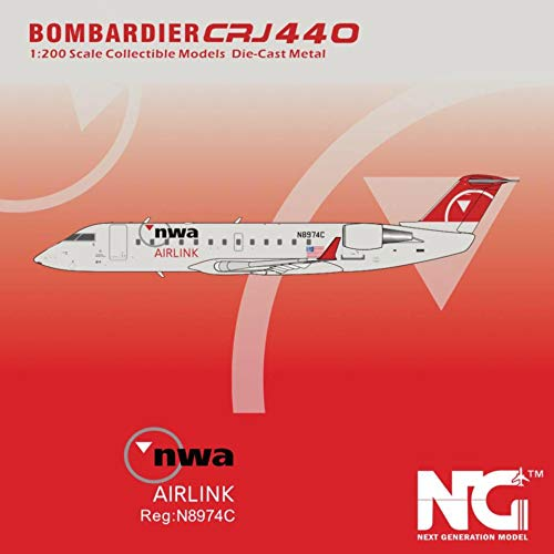 NG Model NGM44001 1:200 NWA AirLink CRJ-440 Reg #N8974C (pre-Painted/pre-Built)