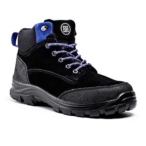 Black Hammer Mens Steel Toe Cap Safety Boots S3 SRC Work Shoes Ankle Suede 7701 (9 UK) Black