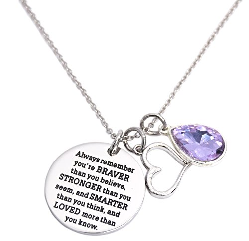 LParkin You are Braver Than You Believe Awareness Necklace Birthstone Graduation Gift Best Friend Encouragement Gifts …