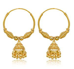 Desire Collection 22K Gold Plated Brass Pearl Earrings For Women, Gold