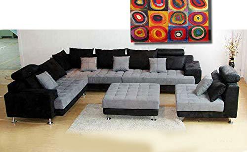 5pc Multifunction 2-tone Microfiber Big Sectional Sofa Set S150LBG