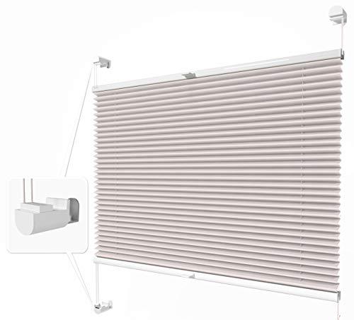 Home-Vision® Plissee Faltrollo ohne Bohren mit Klemmträger / -fix (Creme, B45cm x H120cm) Thermoplissee Sonnenschutz Jalousie für Fenster & Tür