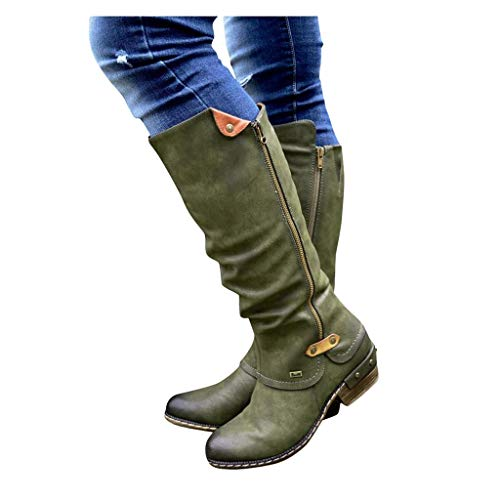 GHrcvdhw Winter Stylish Western Retro Style Cowboy Zip Knight Boots Casual College Solid Color High Tube Women Boots Green