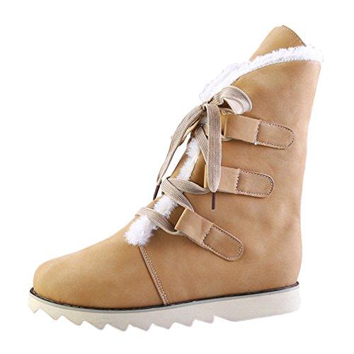 Anguang Damen Stiefel Flache Ankle Gefüttert Warm Stiefel Winter Schneeschuhe Gelb 40