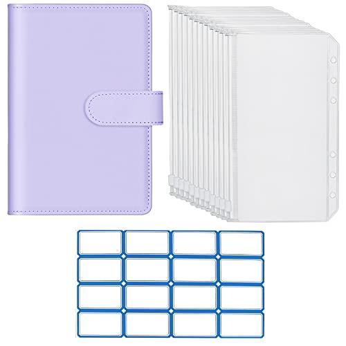 Fittoway 6 Löcher Loseblatt Notizbuch A6 Binder Notebook PU Leder Binder Notizbuch mit 12 Stück Klar Plastik Binderumschlägen Ringbuchordner Reißverschluss Ordner Binder Taschen (Lila)