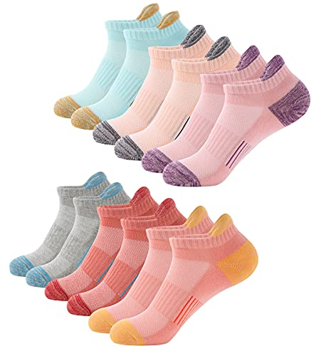 Trainer Socks Womens 6 Pairs Cushioned Sports Socks for Women Cotton Breathable Cushion Running Socks Ladies Casual Nonslip Ankle Athletic Socks (Multicolor 6 Pairs, 6-8)