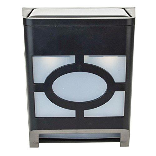 LianLe® wandlamp voor buiten, op zonne-energie, 2 LED's, PIR-bewegingssensor, voor hek, dakgoot, tuin, koudwit