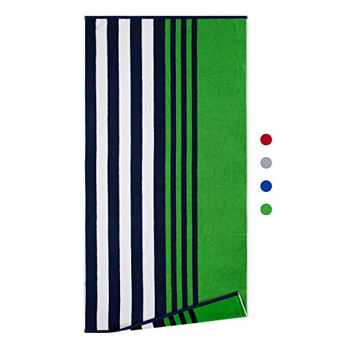 Growell Fluffy Oversized Beach Towels - Cotton 70 x 35 Inch Cotton Velour Striped Pool Towels, Plush...