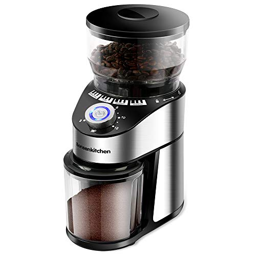 Automatic Conical Burr Coffee Grinder- Big Capacity, Stainless Steel Electric Burr Mill Coffee Grinder with 12 Precise Grind Settings and Cup Selection for Home, Kitchen, Office