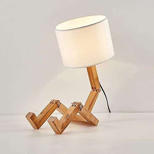 ASMCY Robot Madera Lámpara de mesa, Creativo ajustable E27 Luz de mesa Lámpara de noche Luz de noche Con Pantallas de tela, Cuarto de los niños Cuarto Sala de estar Iluminación decorativa,Blanco