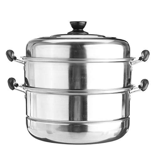 FEIYI Cookware - Olla de acero inoxidable de 3 niveles para cocinar al vapor, utensilios de cocina de cocina (color: 28 cm)
