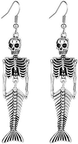 Siver Plated Vintage Human Skeleton Bones and Mermaid Skull Charm Dangle Earrings for Women product image