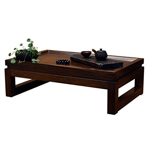 Table Elm Table Basse Baie vitrée Kung fu Petite Table Basse Petite Table de thé Petite Table en Bois Massif Tatami Chinois Table Basse (Color : Brown, Size : 70 * 45 * 30cm)