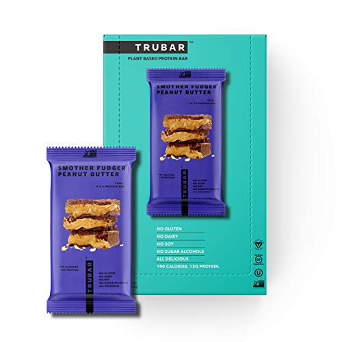 TRUWOMEN TRUBAR Plant Fueled Protein Bars, Smother Fudger Peanut Butter (12 Count)| Non-GMO, Vegan, Gluten Free, Kosher, Soy Free, Dairy Free, No Sugar Alcohols, Low Sodium, Natural Ingredients | 12g Protein