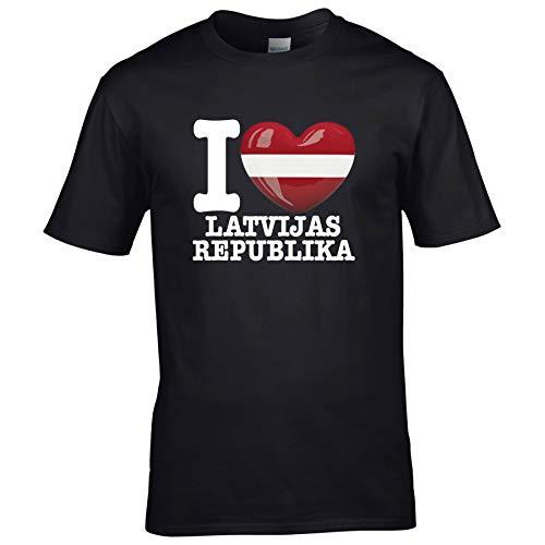 FanShirts4u Herren T-Shirt - I Love LETTLAND Latvia LATVIJAS Republika - EM WM Trikot Liebe Herz Heart (5XL, LATVIJAS Republika/schwarz)