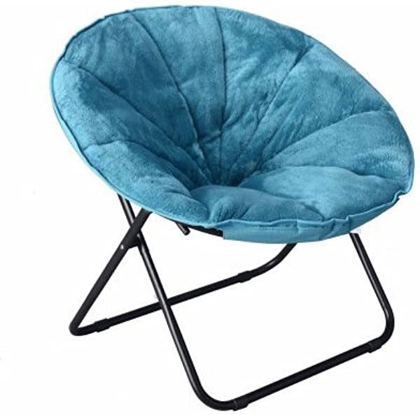 Mainstay Teal Comfortable Faux Fur Plush Folding Saucer Chair