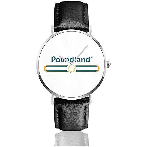 Poundland Designer Watches Orologio in pelle al quarzo con cinturino in pelle nera per regalo collezione