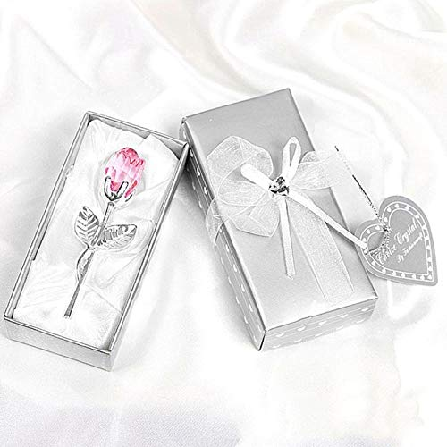 Alvnd Beauty and the Beast crystal rose flower, rose crystal in red wine box, rose, Valentine's Day gift, mother's day rose crystal flower gift (Color : E)