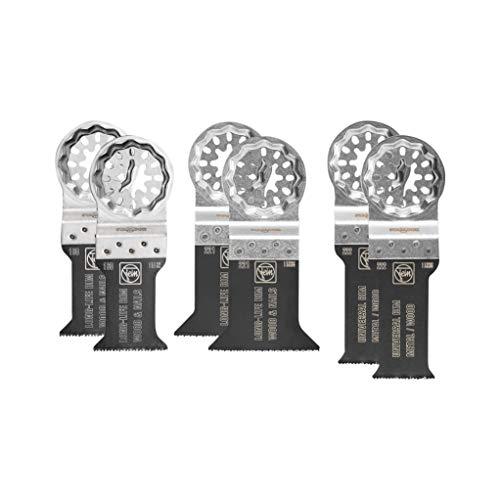 Fein 35222952300 Best of Zubehör-Set | E-Cut Sägeblätter mit Bi-Metall-Verzahnung | StarLock Werkzeugaufnahme | passend für alle gängigen Oszillierer | 6-teilig, 1 V, Silber
