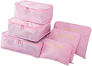 Go2buy 6pcs Travel Luggage Organizer Set Backpack Storage Pouches Suitcase Packing Bags (Pink)