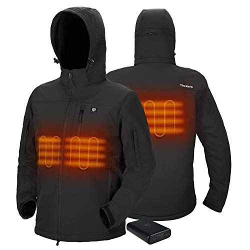 TIDEWE Heated Jacket for Men with Battery Pack, Heated Coat (Black, Size L)