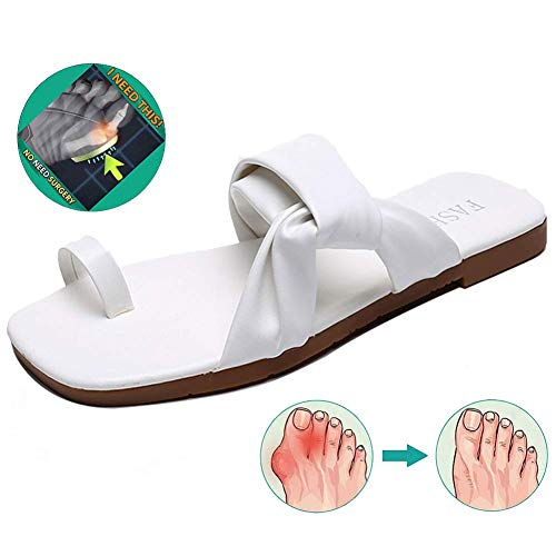 Wedge Bunion Splint Sandals Zapatillas de Mujer Sandalias Planas de Verano al Aire Libre parala corrección ortopédica de Hueso del Dedo Gordo del pie, Azul, 37