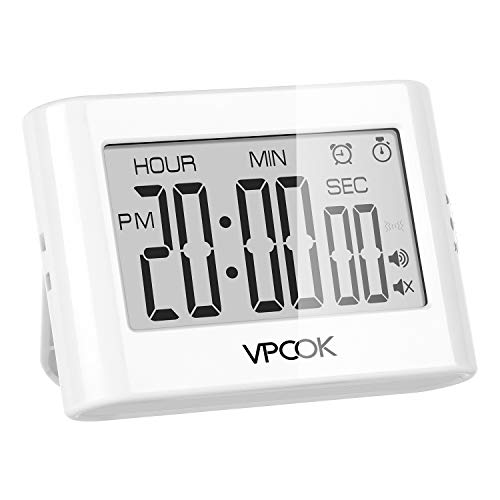 VPCOK Digital Kitchen Timer, Cooking Timer with Loud Alarm, Large LCD Displays, Back Stand, Hanging with Back Hole or Magnet, Multi-fuction Timer for Cooking Studing Teaching Officing Use
