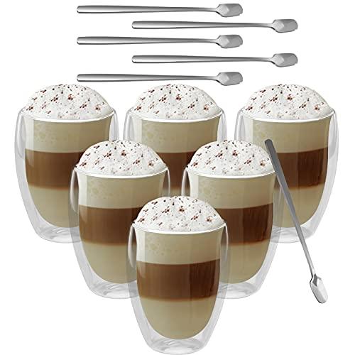 GoMaihe 350ml Tazas Cafe Doble Cristal JuegoTraer Cuchara X6, Vasos Cristal Agua Transparentes Aisladas, Apto Para Leche, Té, Lavavajillas, Cafetera
