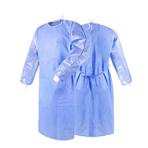 ZMDREAM 100 Pack Disposable Isolation Gown Non-woven with Knit Cuff & Waist Ties Blue
