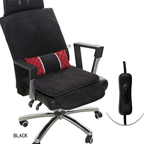 FDCVF Verwarmbaar zitkussen, lendenkussen, dubbele temperatuurregeling, met afneembaar lendenkussen, voor bureaustoel, thuis, 12 V