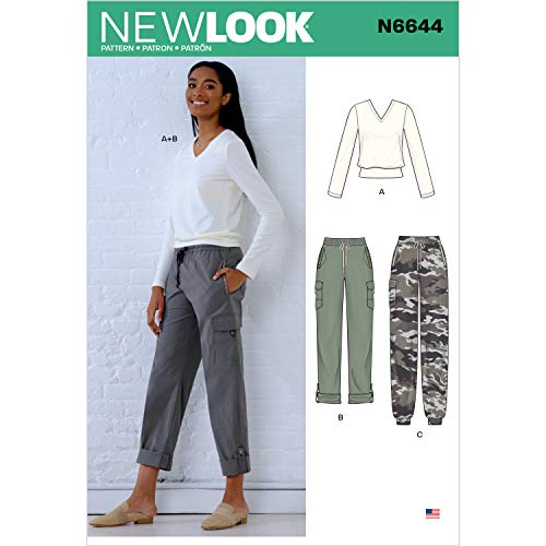 New look naaipatroon N6644 Misses' Cargo Broek en Brei Top, Papier, Wit, diverse