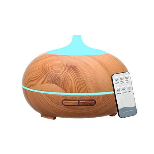 VORCOOL Difusor de Aromatherapy de Madera 300ml en Forma de lágrima Difusor de Aceite Esencial Humidificador ultrasónico para el hogar con Control Remoto y Enchufe de la UE