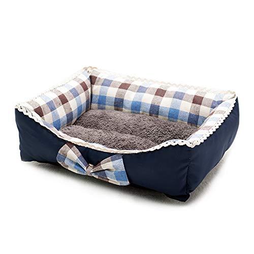 XDKS Cama para perro, lavable, súper suave, sofá para mascotas, cama para gatos, parte inferior antideslizante, cama para mascotas, cama de alta calidad (XXL, rejilla azul)