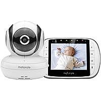 """Motorola Baby MBP 36S/SC - Vigilabebés Vídeo con Pantalla LCD a Color de 3.5"""", Modo Eco y Visión Nocturna, Blanco"""