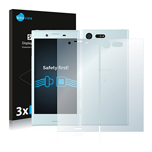 Savvies 6X Schutzfolie kompatibel mit Sony Xperia X Compact (Vorder + Rückseite) Bildschirmschutz-Folie Ultra-transparent