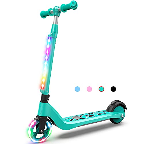 Felimoda Electric Scooter for Kids Ages 6-12 with Cool Neon LED, Adjustable Heights , Electric Kick Scooter Ride Distance Up to 5 Miles, UL Certified, Best Gift for Kids