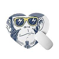 チンパンジー 猿 マウスパッド かわいいアイテム ハート型 滑り止めゴム底 おしゃれ 雑貨 パソコン PCアクセサリー