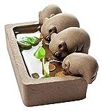 WQQLQX Statue 4 kleine Schweine Trinkwasser Tee Haustier lila Sandkulptur Statue Steinzeug Statuette Kung Fu Tee Set Dekoration Tee Set Zubehör Skulpturen